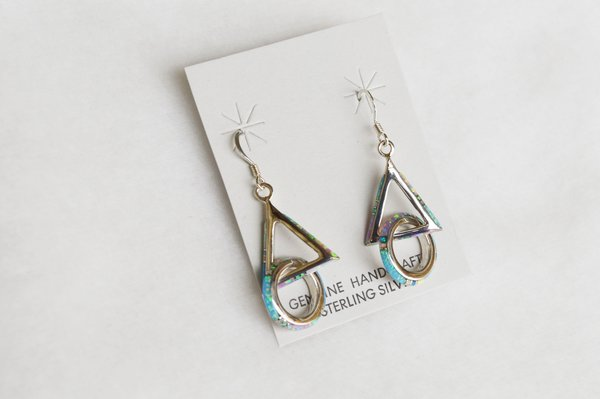 Sterling silver white, pink and blue opal inlay circle/triangle dangle earrings. E130