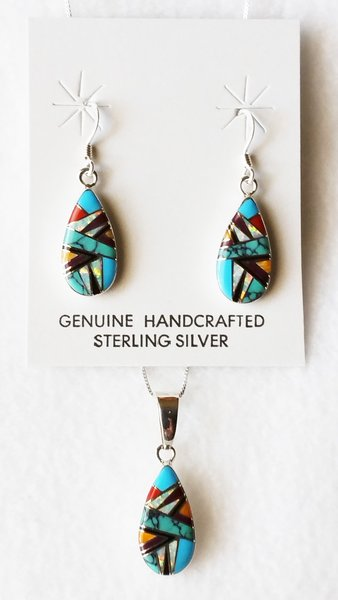 "Sterling silver multi color opal inlay teardrop dangle earrings and 18"" sterling silver box chain necklace set. S003"