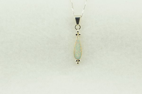 """Sterling silver white opal corn cob shaped pendant with sterling silver 18"""" figaro chain. N236"""