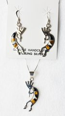 """Sterling silver black onyx, white opal and tiger eye large inlay kokopelli dangle earrings and 18"""" sterling silver box chain necklace set. S009"""