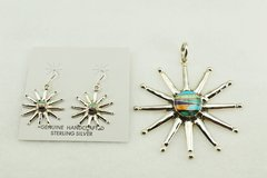 Sterling silver multi color inlay star earrings and pendant set. S124