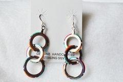 Sterling silver multi color 3 ring dangle earrings. E079