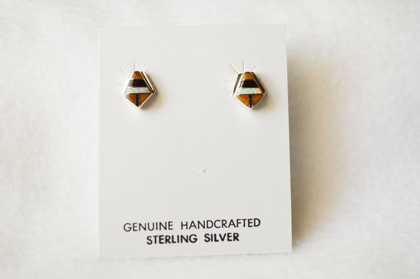 Sterling silver white opal, black onyx and tiger eye inlay polygon post earrings. E152