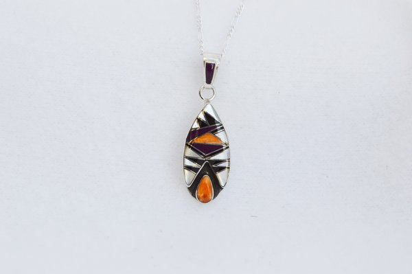 "Sterling silver multi color inlay corn cob pendant with sterling silver 18"" figaro chain. N151"