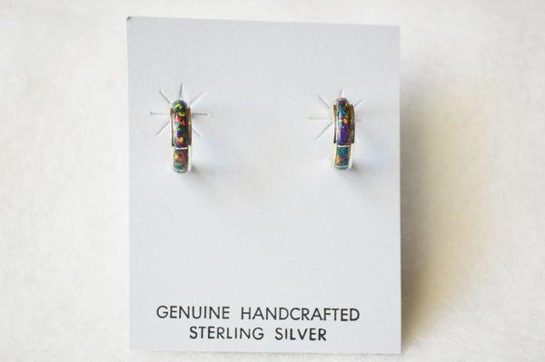 Sterling silver black opal inlay small 1/2 hoop post earrings. E239