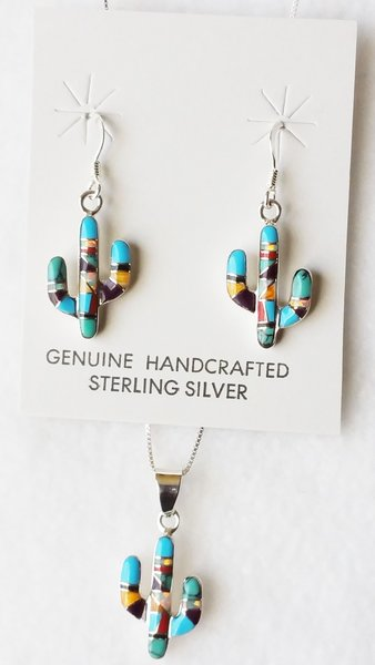 """Sterling silver multi color inlay with opal cactus dangle earrings and 18"""" sterling silver box chain necklace set. S112"""