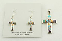 Sterling silver multi color inlay cross earrings and pendant set. S135