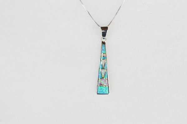 "Sterling silver white, blue and pink opal inlay tall triangle pendant with sterling silver 18"" box chain. N128."