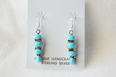 Sterling silver turquoise 4 stone dangle earrings. (E048)