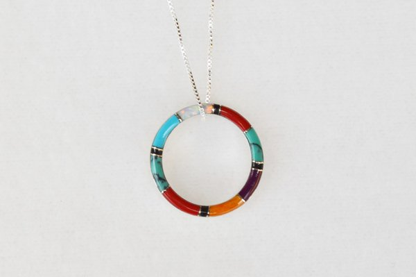"""Sterling silver multi color inlay hoop pendant with sterling silver 18"""" box chain. N027"""