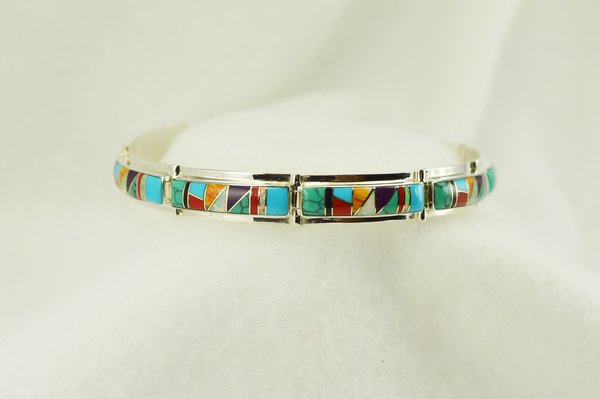 "Sterling silver multi color inlay link 8."" bracelet. B104"