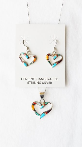 """Sterling silver multi color inlay heart dangle earrings and 18"""" sterling silver box chain necklace set. S106"""