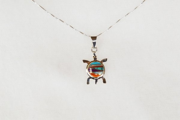 "Sterling silver multi color inlay turtle pendant with sterling silver 18"" box chain. N016"