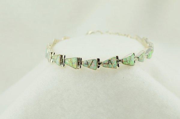 "Sterling silver white opal inlay link 7.5"" bracelet. B089"