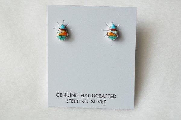 Sterling silver multi color inlay teardrop post earrings. (E008)