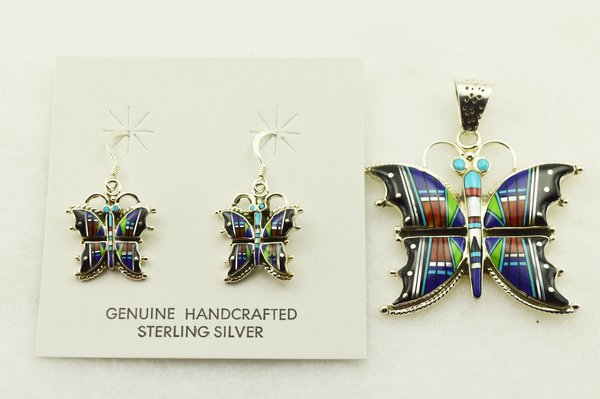 Sterling silver multi color inlay butterfly earrings and pendant set. S302