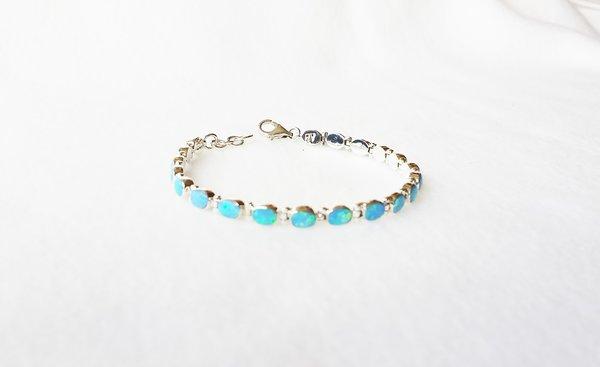 """Sterling silver blue opal 7.25"""" mini oval link bracelet. B006"""