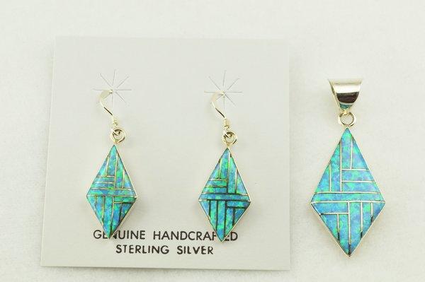 Sterling silver blue opal inlay diamond shaped earrings and pendant set. S263