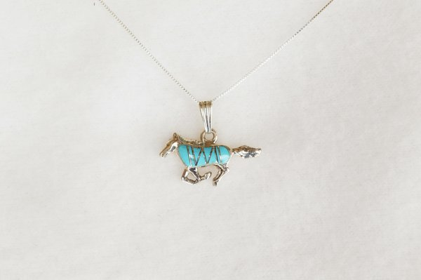 """Sterling silver turquoise mustang horse pendant with sterling silver 18"""" box chain. N008"""