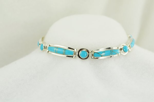 "Sterling silver turquoise inlay 8.25"" bracelet. B036"