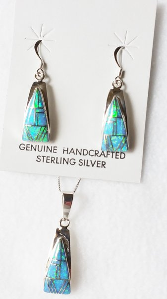 """Sterling silver blue opal inlay triangle dangle earrings and 18"""" sterling silver box chain necklace set. S015"""