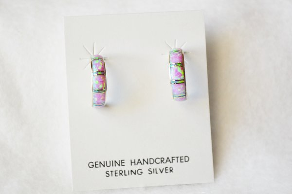 Sterling silver white and pink opal inlay medium 1/2 hoop post earrings. E248