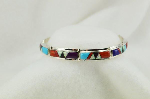 "Sterling silver multi color inlay link 8"" bracelet. B109"