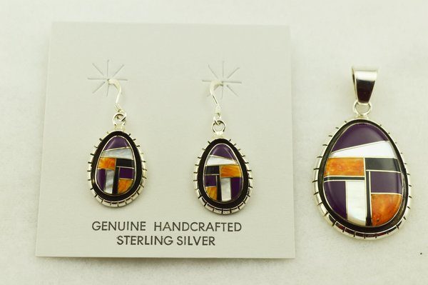 Sterling silver multi color inlay oval with edge earrings and pendant set. S318