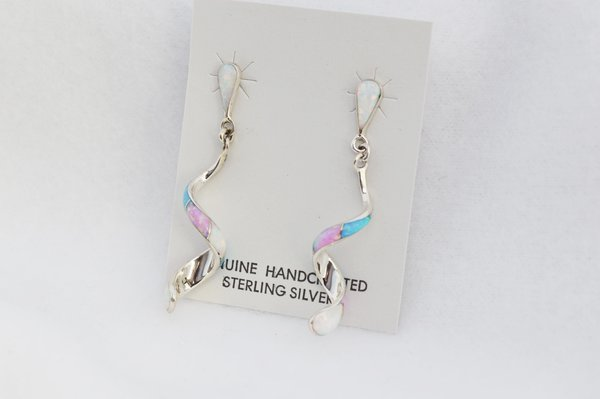 Sterling silver white, pink and blue opal inlay twisty post earrings. E356