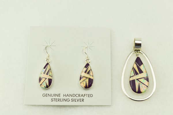 Sterling silver sugilite and white opal inlay teardrop earrings and pendant set. S205