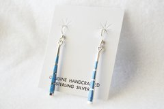 Sterling silver and denim lapis stick dangle earrings. (E042)