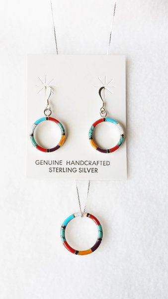 "Sterling silver multi color inlay w/opal oval dangle earrings and 18"" sterling silver box chain necklace set. S107"