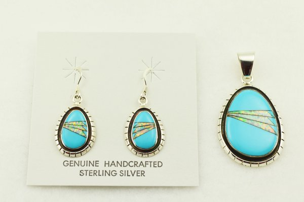 Sterling silver white opal and turquoise inlay raindrop with edge earrings and pendant set. S316