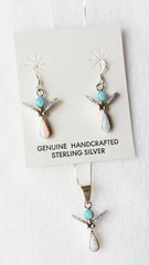 "Sterling silver blue, white and pink opal inlay angel dangle earrings and 18"" sterling silver box chain necklace set. S022"