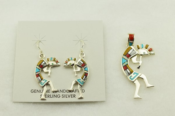 Sterling silver multi color inlay kokopelli earrings and pendant set. S300