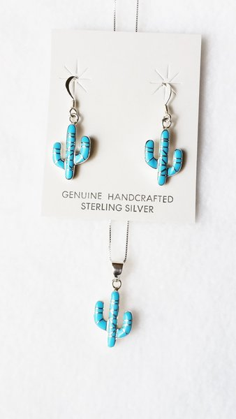 """Sterling silver turquoise inlay cactus dangle earrings and 18"""" sterling silver box chain necklace set. S084"""