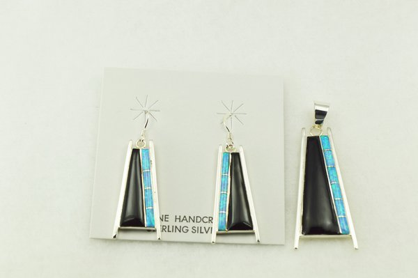 Sterling silver black onyx and blue opal inlay pillar shaped earrings and pendant set. S218