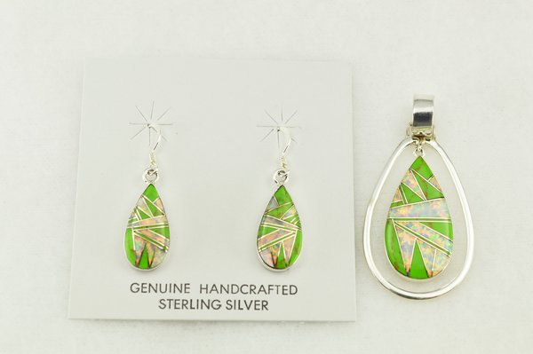 Sterling silver gaspeite and white opal inlay teardrop shaped earrings and pendant set. S199