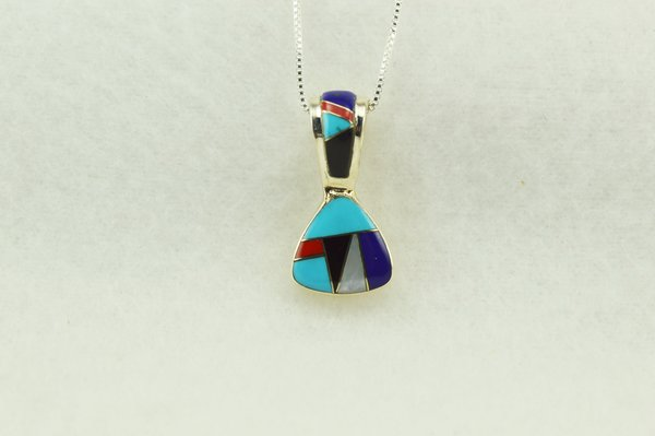 "Sterling silver multi color inlay pick shaped pendant with sterling silver 18"" box chain. N276"