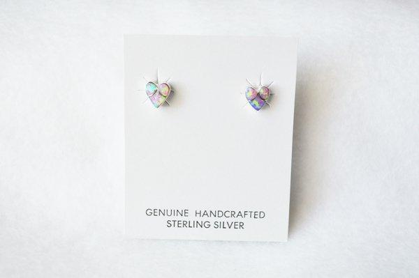 Sterling silver pink opal inlay heart post earrings. E180