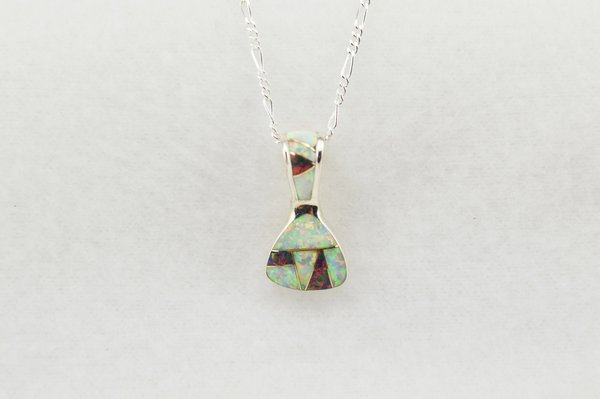 """Sterling silver black and white opal inlay pick shaped pendant with sterling silver 18"""" figaro chain. N230"""