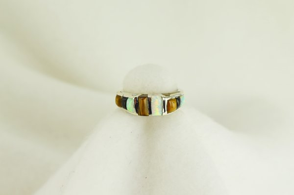 Sterling silver tiger eye, black onyx and white opal inlay ring. R048