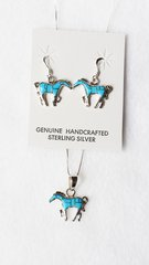 "Sterling silver turquoise inlay horse dangle earrings and 18"" sterling silver box chain necklace set. S070"