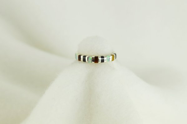 Sterling silver tiger eye, black onyx and white opal inlay ring. R042