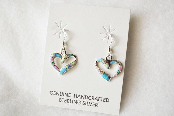 Sterling sivler multi color opal inlay small heart dangle earrings. E206