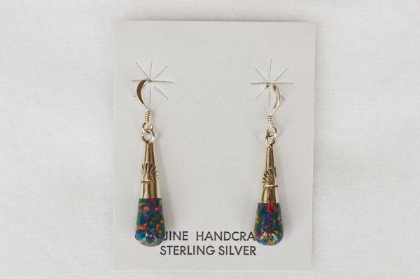 Sterling silver black opal drop dangle earrings. E106
