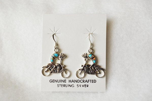 Sterling silver inlay multi stone kokopelli motorcycle dangle earrings. E093