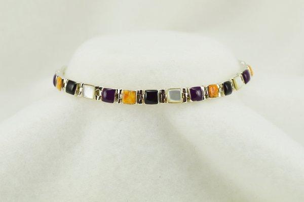 """Sterling silver multi color link 7.75"""" bracelet. B115"""