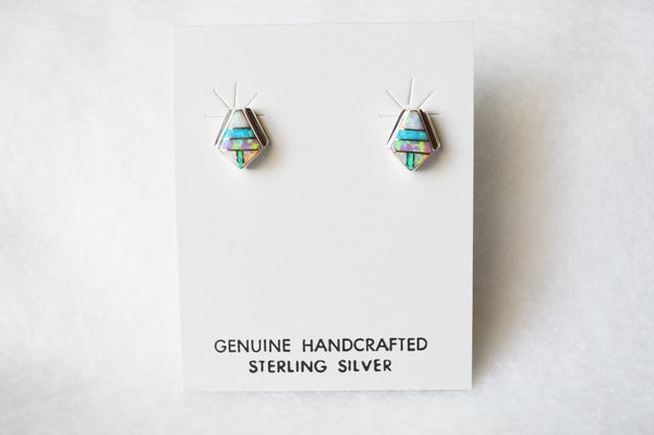 Sterling silver blue, white and pink opal inlay diamond post earrings. E190