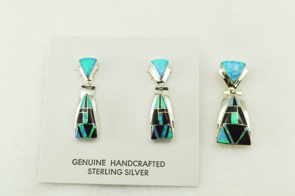Sterling silver black onyx and blue opal inlay candy corn shaped earrings and pendant set. S217